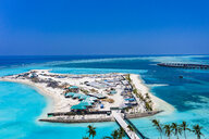 Aerial view of construction site, water bungalows, South Male Atoll, Maledives - AMF07096