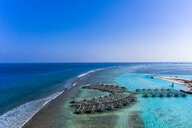Aerial view of construction site, water bungalows, South Male Atoll, Maledives - AMF07099
