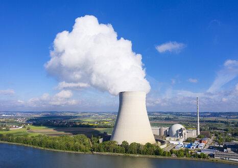 Isar Nuclear Power Plant, Niederaichbach reservoir, near Landshut, Bavaria, Germany, drone shot - SIEF08664