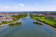 Isar reservior Dingolfing, Bavaria, Germany, drone shot - SIEF08670