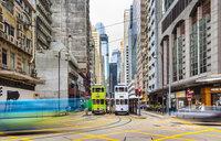 Trams in Hong Kong Central, Hong Kong, China - HSIF00675