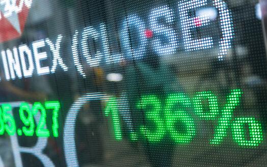 Detail of Stock Market Display, Hong Kong, China - HSIF00681