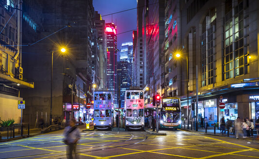 Trams in Hong Kong Central at night, Hong Kong, China - HSIF00690