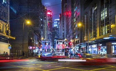 Trams in Hong Kong Central at night, Hong Kong, China - HSIF00693