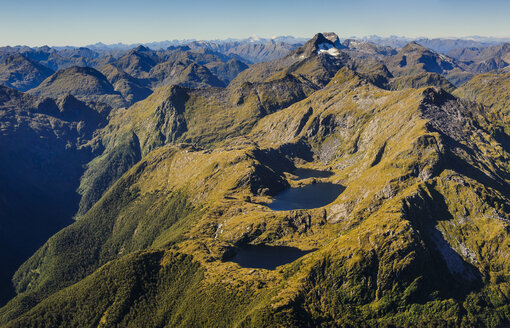 Aerial view of the rugged mountains in Fiordland National Park, South Island, New Zealand - RUNF02445