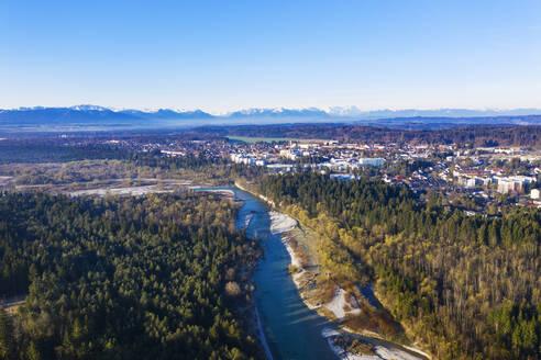 Isar, Naturschutzgebiet Isarauen, Geretsried, Alpenkette, Drohnenaufnahme, Oberbayern, Bayern, Deutschland - SIEF08673