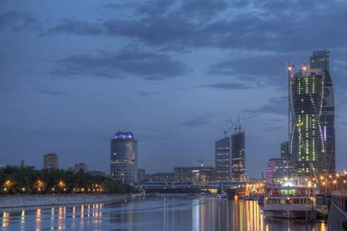 City skyline illuminated at night, Moscow, Russia - MINF11648