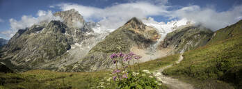 Mt Blanc trail in mountains, Val Ferret, Switzerland - MINF11729