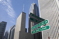 Close up of road signs on Chicago city street, Chicago, United States - MINF11777