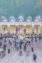 Blurred people walking outside Grand Central Terminal, New York City, New York, United States, - MINF11942