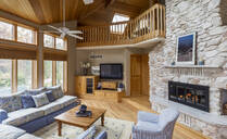 Stone fireplace in living room - MINF11945