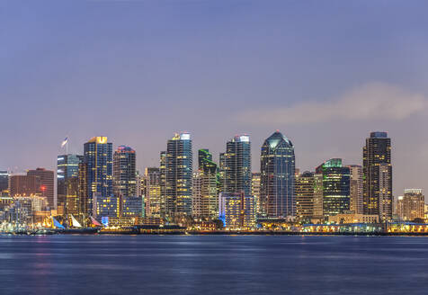 City skyline lit up at night, San Diego, California, United States - MINF11981