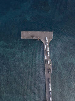 Aerial view of cars at the pier, Nusa Penida island,Bali,Indonesia - KNTF02800