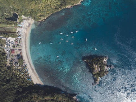 Aerial view of Crystal Bay, Nusa Penida Island, Bali, Indonesia - KNTF02829