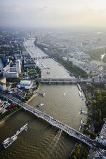 Aerial view of London cityscape and river, England - MINF12357
