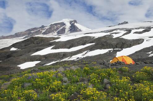 Tent at campsite in remote landscape - MINF12421
