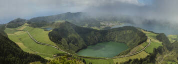 Aerial view of Twin Crater Lakes in rural landscape, Sao Miguel, Portugal - MINF12561