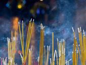 Close up of incense sticks burning - MINF12642