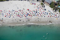 Aerial view of tourists on sunny beach in Cape Town, South Africa - JUIF01421