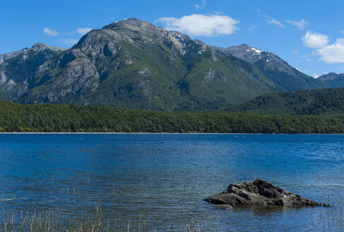 Beautiful mountain lake in the Los Alerces National Park, Chubut, Argentina, South America - RUNF02730
