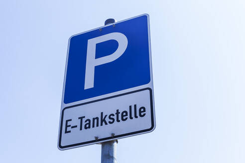 Sign of parking area with Electric Vehicle Charging Station - TCF06100