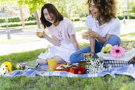 Two laughing women having a picnic in park - FMOF00706