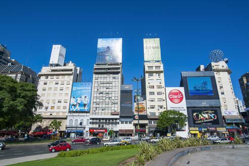 Business buildings along, Avenida 9 de Julio, Buenos Aires, Argentina, South America - RUN02826