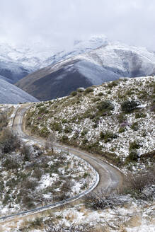 Snow at Way of St. James, near Cruz de Ferro, Spain - LMJF00097