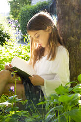 Little girl leaning against tree trunk reading a book - LVF08108