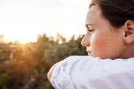 Caucasian woman overlooking landscape - BLEF07251
