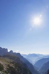View to Auronzo di Cadore and Lago di Santa Caterina, Tre Cime di Lavaredo Area, Nature Park Tre Cime, Unesco World Heritage Natural Site, Sexten Dolomites, Italy - GWF06105