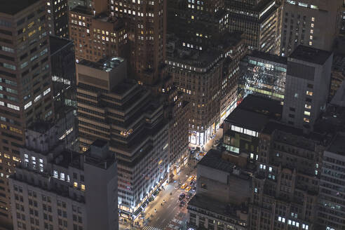 Skyscrapers and street canyon at night, Manhattan, New York City, USA - MMAF01036