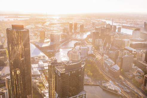 Cityscape of Melbourne with Yarra river at sunset, Victoria, Australia - KIJF02497