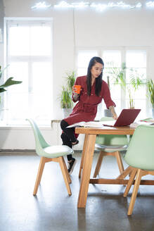 Woman using laptop on table in office - FKF03360