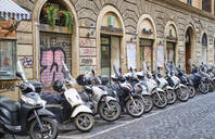 Parked motor scooters, Rome, Italy - MR02034