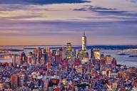 Aerial view of Manhattan skyline at sunset, New York City, New York, USA - HNF00810