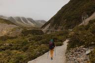 Hiker exploring trail, Wanaka, Taranaki, New Zealand - ISF21864