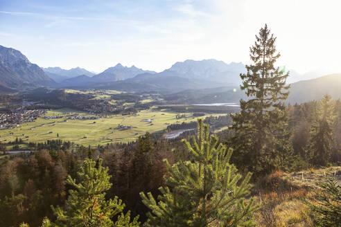 Kreplschrofen, View to Wallgau, Kruen, Isar, Bavarian Prealps, Wallgau, Germany - MAMF00771