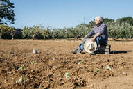 Senior farmer sitting on wooden box, after planting vegetables in the garden - JRFF03396