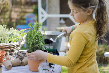 Girl gardening on garden table - MOEF02266