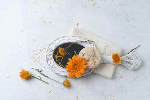 Marigold soap, hand mirror and flower heads - MYF02115