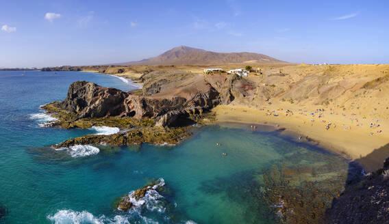Playa de Papagayo, Papagayo-Strände, Naturpark Monumento Natural de Los Ajaches, bei Playa Blanca, Lanzarote, Kanarische Inseln, Spanien - SIEF08712