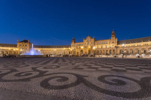 The Plaza de Espana at night, Seville, Spain - TAMF01585