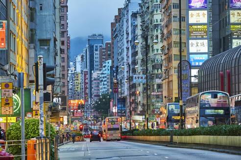 Street at Kowloon in the evening, Hong Kong, China - MRF02107