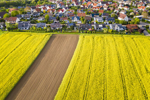 Aerial view over rape fields and houses near Schlichten, Swabian Franconian forest, Germany - STSF02024