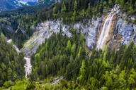 Aerial view over Lech valley and Lech river with waterfall, Tyrol, Austria - STSF02039