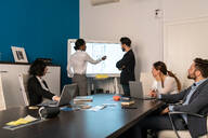 Young female and male business creative team at conference table presentation looking at interactive screen - CUF52378