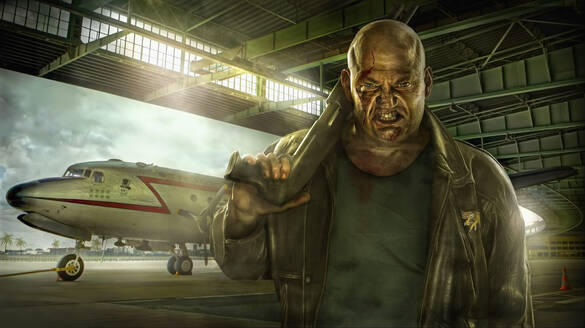 Illustration of mixed race man holding gun in airplane hangar - BLEF07926