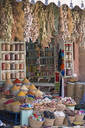 Spice shop and colourful spices on sale in Souk area, Marrakech, Morroco - JUIF01770