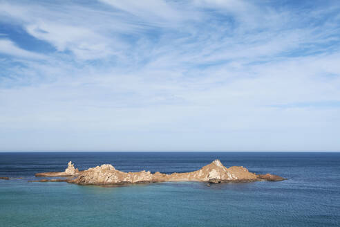 Scenic view of seascape against sky during sunny day, Menorca, Spain - IGGF01192